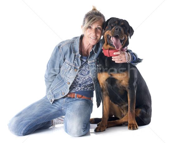 Rottweiler portret kobiety kobieta biały znajomych Zdjęcia stock © cynoclub