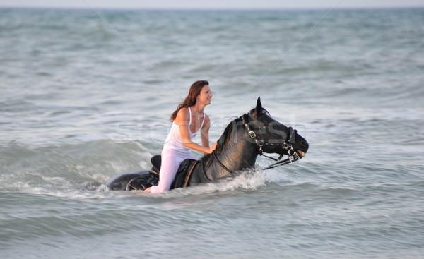 スイミング 馬 若い女性 黒 種馬 海 ストックフォト © cynoclub
