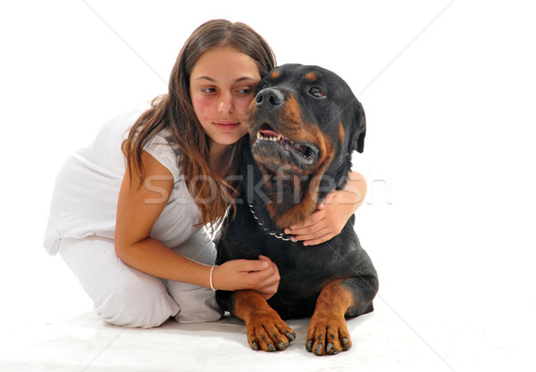 child and rottweiler Stock photo © cynoclub