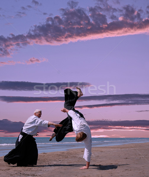 Aikido twee opleiding strand sport natuur Stockfoto © cynoclub