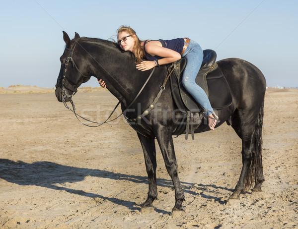 riding girl on the beach Stock photo © cynoclub