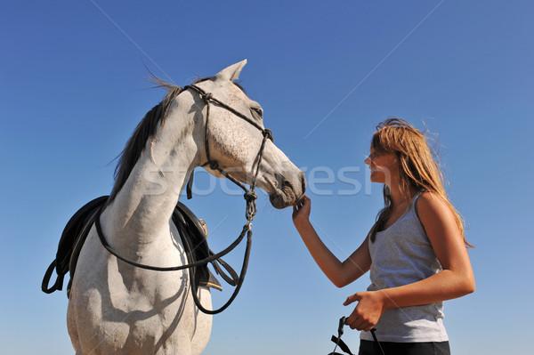 teen and arabian horse Stock photo © cynoclub