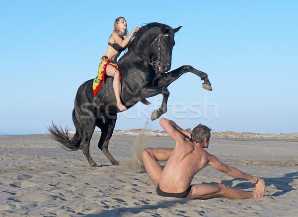 horsewoman and yogi Stock photo © cynoclub
