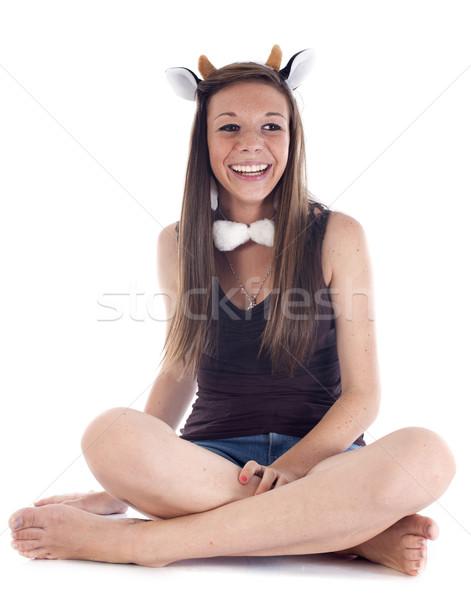 Lány jelmez fehér nő stúdió mosolyog Stock fotó © cynoclub