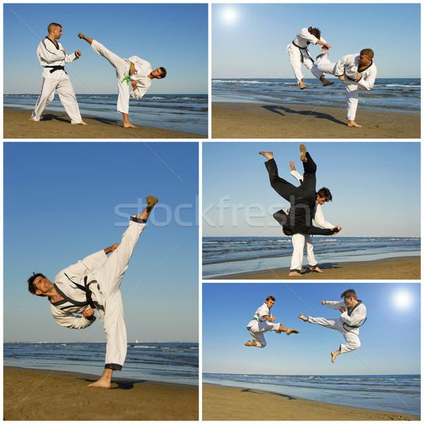 Taekwondo eğitim genç erkekler plaj güneş spor Stok fotoğraf © cynoclub
