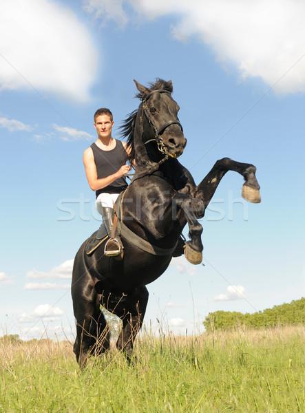 Konia młody człowiek piękna czarny ogier chmury Zdjęcia stock © cynoclub