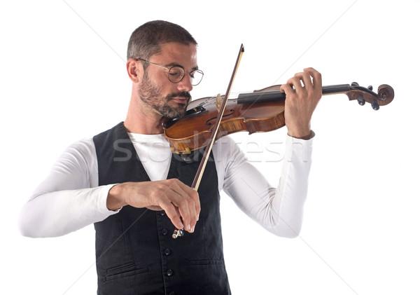 Hegedűművész fiatal fehér zene férfi művészet Stock fotó © cynoclub