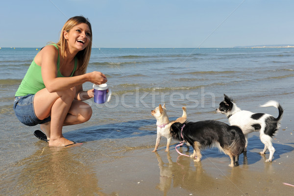 Foto stock: Nina · playa · retrato · cute