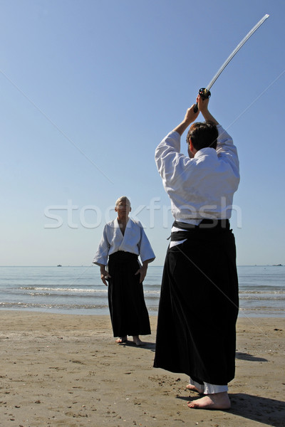 training of Aikido on the beach Stock photo © cynoclub
