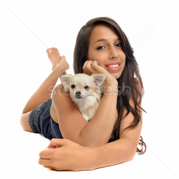 Lány portré fiatal nő fehér nő kutya Stock fotó © cynoclub