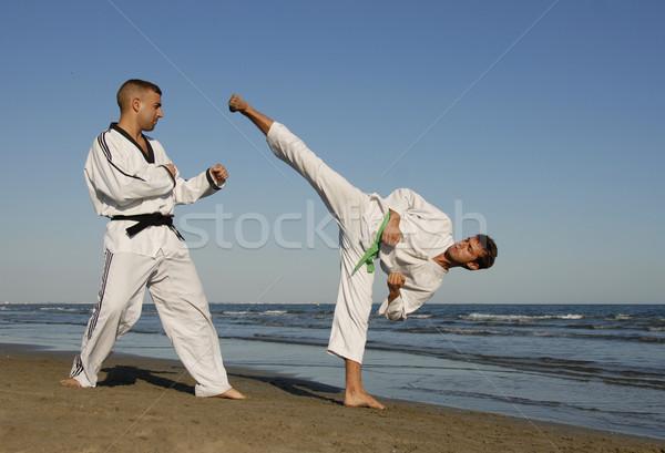 Taekwondo iki adam eğitim plaj adam spor Stok fotoğraf © cynoclub