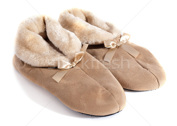 Bont pantoffel slippers witte huid kleding Stockfoto © cynoclub