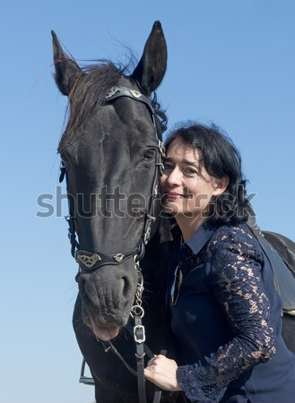 rearing stallion and laughing girl Stock photo © cynoclub