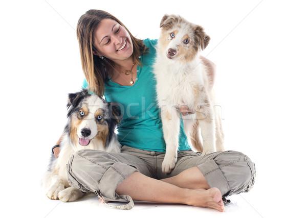 Australisch vrouw witte hond ogen Stockfoto © cynoclub
