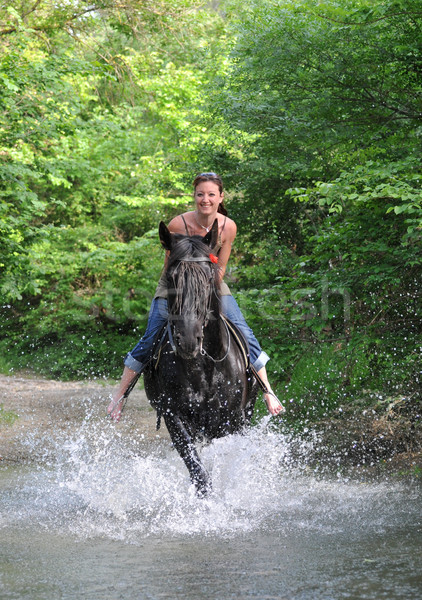 Jazda konna kobieta młoda kobieta czarny ogier rzeki Zdjęcia stock © cynoclub