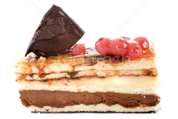 Creme bolo de chocolate branco chocolate raio fundo branco Foto stock © cynoclub