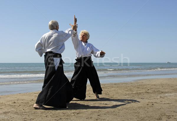 Yaşlılar aikido iki yetişkin eğitim plaj Stok fotoğraf © cynoclub