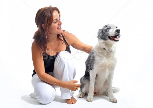 Menina cão mulher jovem melhor amigo border collie Foto stock © cynoclub