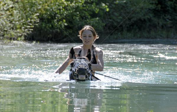 Pływanie konia czarny ogier młodych teen Zdjęcia stock © cynoclub