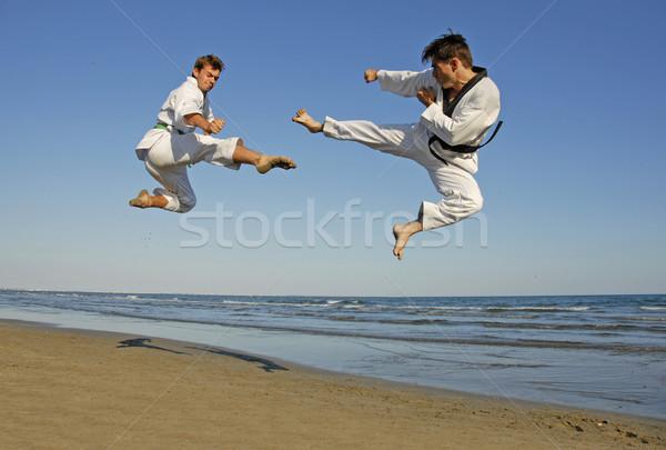 Taekwondo plaj eğitim iki genç erkekler adam Stok fotoğraf © cynoclub