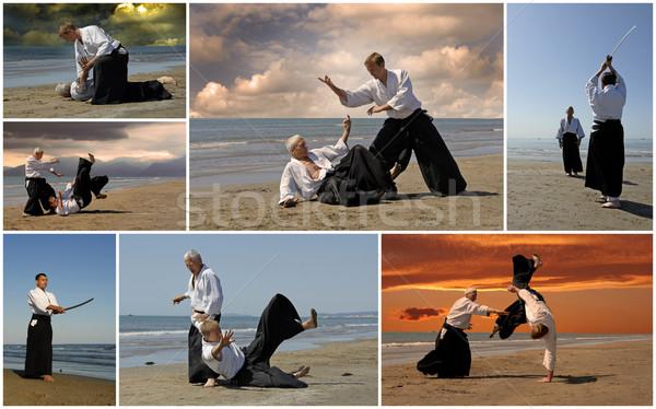 Aikido resim yetişkin eğitim plaj Stok fotoğraf © cynoclub