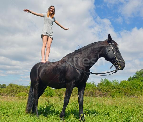 Jovem equitação menina preto garanhão natureza Foto stock © cynoclub