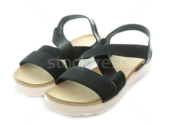 Femme noire sandales femme blanche noir studio Photo stock © cynoclub