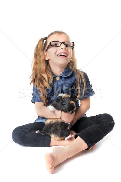çocuk kobay portre gülme küçük kız beyaz Stok fotoğraf © cynoclub