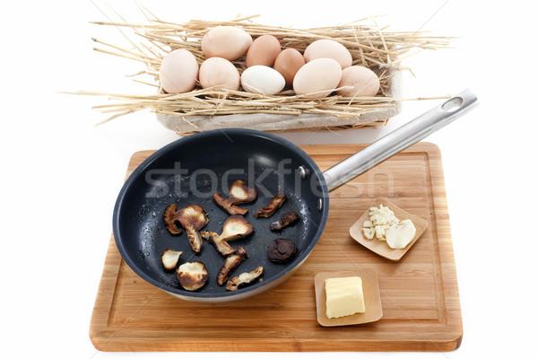 Ingredientes setas huevo cocina frescos ajo Foto stock © cynoclub