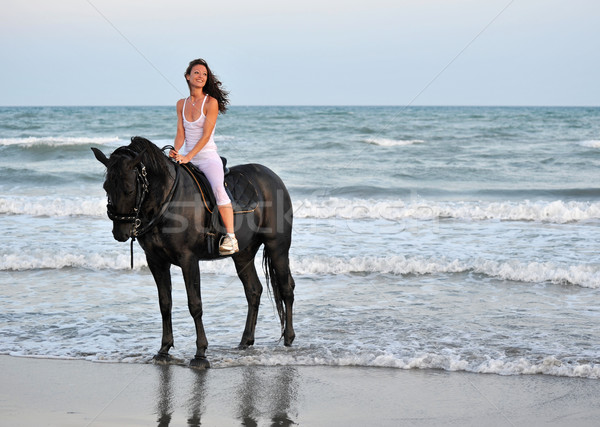 riding girl on a beach Stock photo © cynoclub