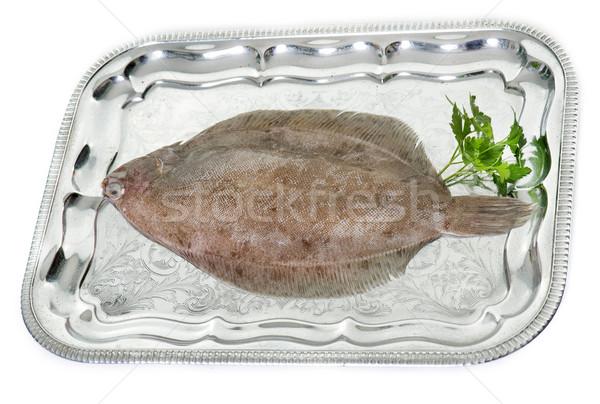 Citroen dienblad zilver studio voedsel dier Stockfoto © cynoclub