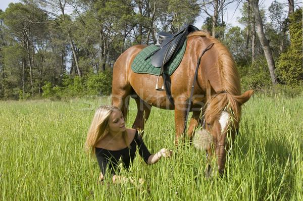 Blond dziewczyna ogier nastolatek brązowy konia Zdjęcia stock © cynoclub