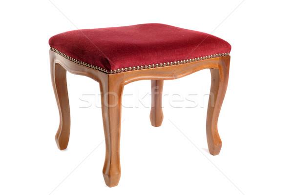 Zsámoly bársony fa fehér bútor piros Stock fotó © cynoclub