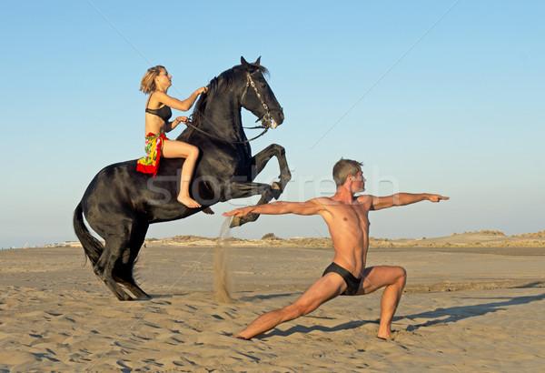 horse woman and yoga man Stock photo © cynoclub