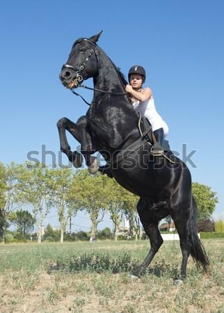 Jóvenes equitación nina negro semental naturaleza Foto stock © cynoclub