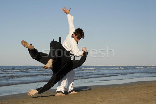 Taekwondo kavga iki adam spor plaj erkekler Stok fotoğraf © cynoclub