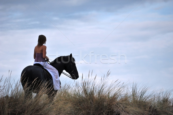 riding girl Stock photo © cynoclub