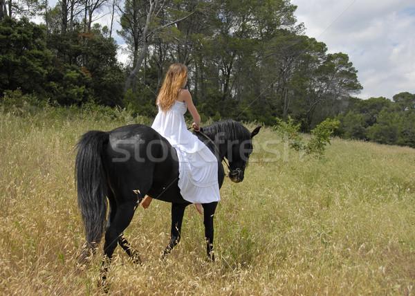 Stockfoto: Bruid · paard · jonge · vrouw · trouwjurk · zwarte · hengst