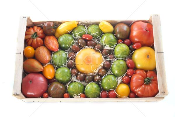 Skrzynia pomidory biały czerwony wiśniowe warzyw Zdjęcia stock © cynoclub