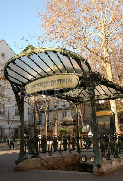 Metró Párizs közlekedés bejárat Franciaország Montmartre Stock fotó © cynoclub
