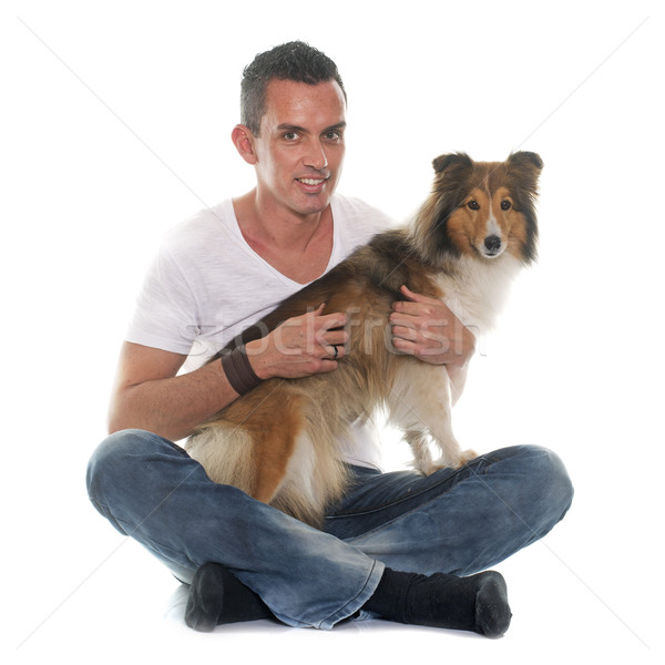 Homme chien de berger blanche studio souriant Photo stock © cynoclub