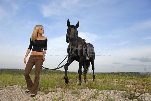 Genç siyah aygır sarışın gökyüzü doğa Stok fotoğraf © cynoclub