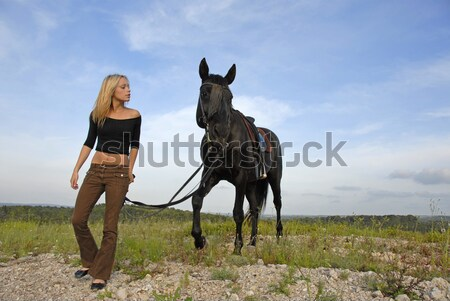 man and horse on the beach Stock photo © cynoclub