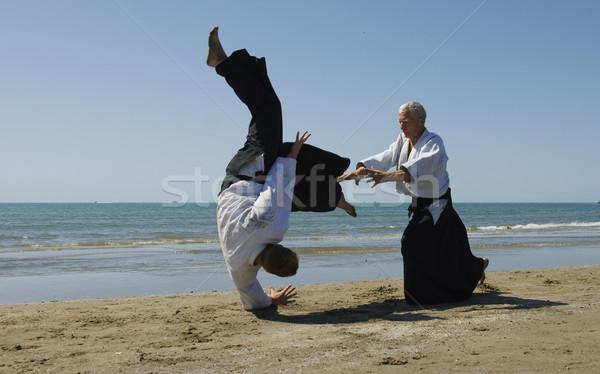 Aikido plaj iki yetişkin eğitim adam Stok fotoğraf © cynoclub
