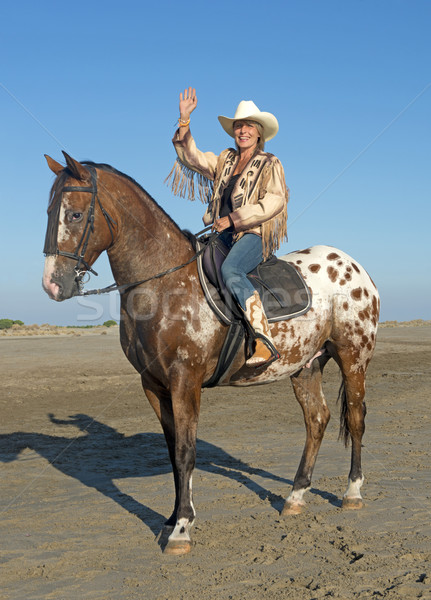 cowgirl on appaloosa horse Stock photo © cynoclub