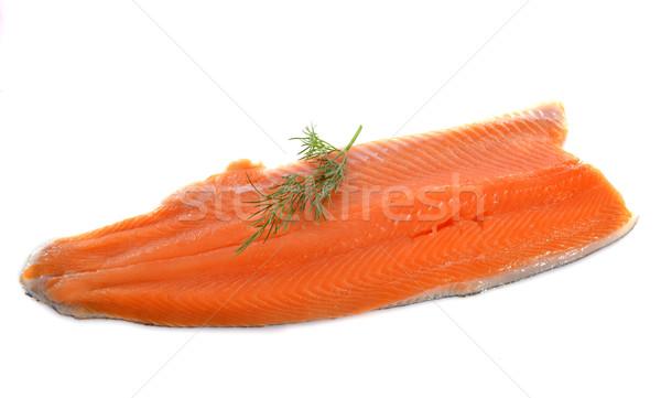 Pstrąg filet biały żywności czerwony herb Zdjęcia stock © cynoclub