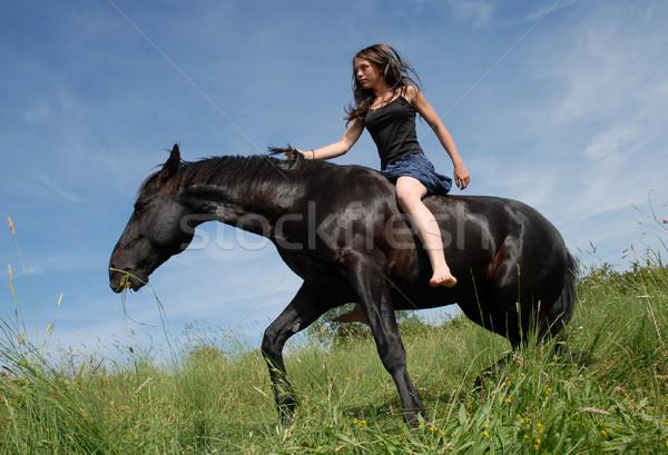 Equitación nina negro semental campo Foto stock © cynoclub