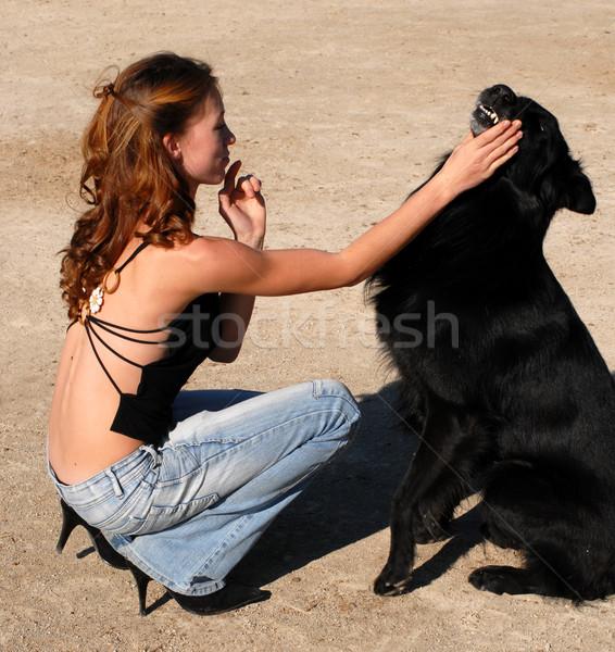 girl and black dog Stock photo © cynoclub