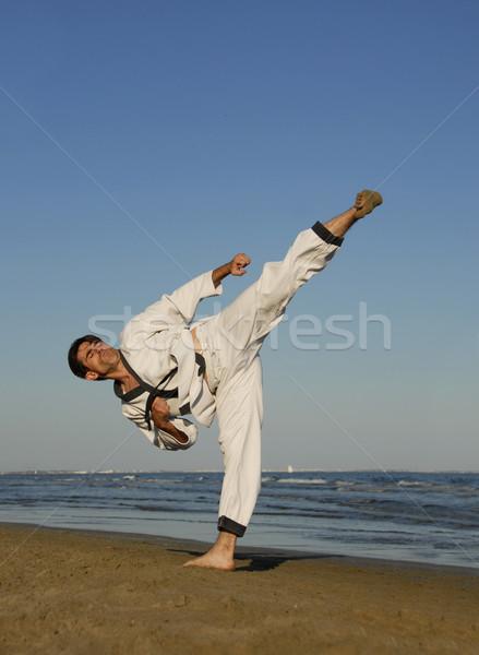 karate on the beach Stock photo © cynoclub
