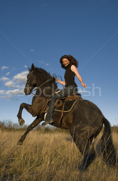 rearing stallion and girl Stock photo © cynoclub